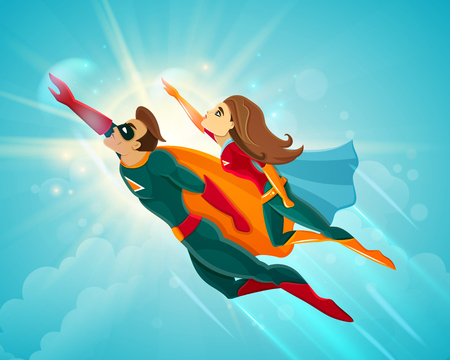 Illustration pour Super heroes couple man and woman flying together in blue sky vector illustration - image libre de droit