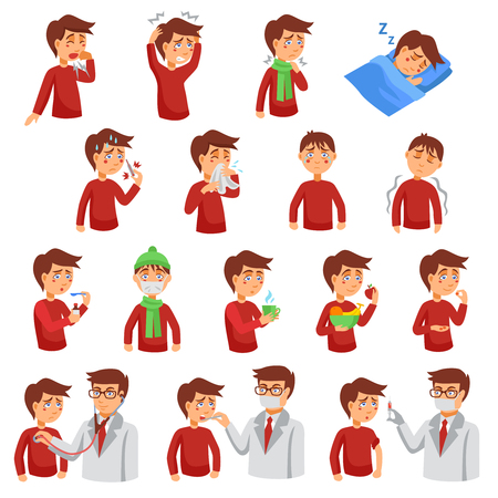 Illustration pour Flu illness cartoon icons with unhealthy people and doctors helping diseased patients flat vector illustration - image libre de droit