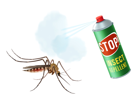 Realistic mosquito with insect repellent spray in dengerous diseases prevention concept vector illustration