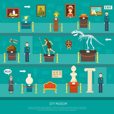 Illustration pour City museum exhibition with exposure of arts and paleontology exhibits and guards flat vector illustration - image libre de droit