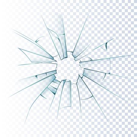 Illustration pour Broken frosted window pane or front door glass background decorative  realistic daylight design vector illustration - image libre de droit