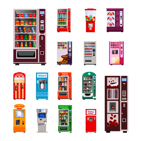 Vending machines icons set with toys water and coffee machines flat isolated vector illustration