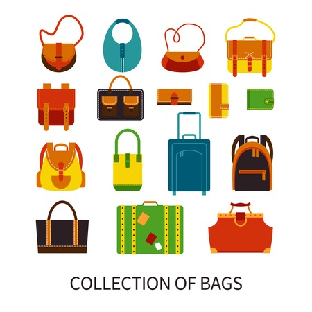 Illustration pour Handbags and luggage quality leatherwear store fashionable accessories online flat icons collection abstract isolated vector illustration - image libre de droit