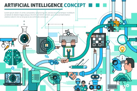 Illustration for Artificial intelligence concept line composition with communication symbols flat vector illustration - Royalty Free Image