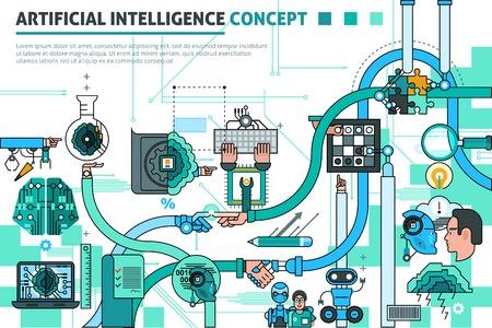 Ilustración de Artificial intelligence concept line composition with communication symbols flat vector illustration - Imagen libre de derechos