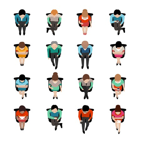 Illustration pour Top view on sitting business people with coffee caps or reading letters flat isolated icons vector illustration - image libre de droit