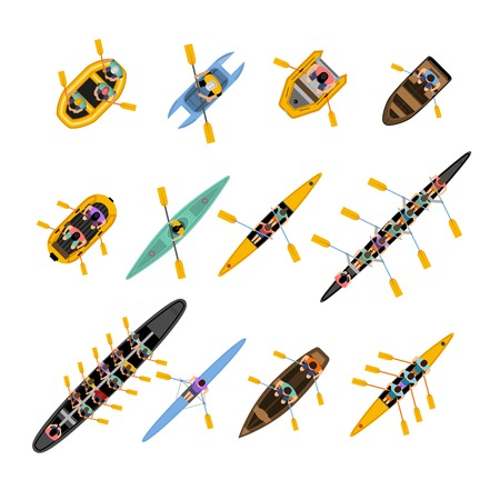 Ilustración de Rafting kayaking top view set with boats of different forms and colors with people inside isolated vector illustration - Imagen libre de derechos