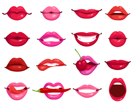 Illustration pour Red and rose kissing and smiling cartoon lips isolated decorative icons for party presentation vector illustration - image libre de droit