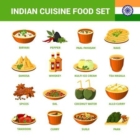 Vektor für Indian cuisine food set with different dishes spices and drinks isolated vector illustration - Lizenzfreies Bild