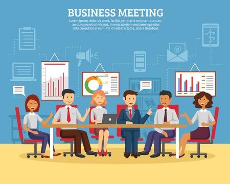 Ilustración de Business meeting concept with people chatting in conference room flat vector illustration - Imagen libre de derechos