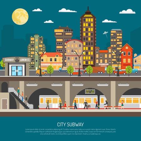 Ilustración de Underground poster of cityscape with subway station and platform train passengers under city street flat vector illustration - Imagen libre de derechos