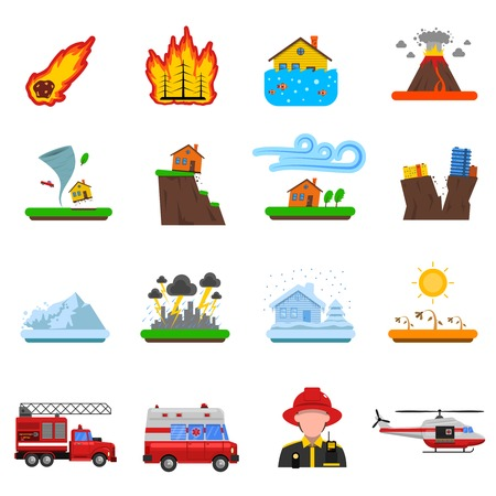 Natural Disasters Flat Icons Set With Forest Fire Tsunami