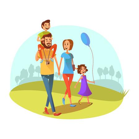 Illustration pour Family weekend concept with parents and children walking cartoon vector illustration - image libre de droit