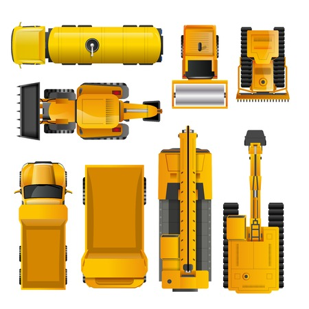 Illustration for Set of yellow realistic construction machinery  top view isolated vector illustration - Royalty Free Image