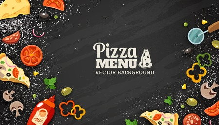 Illustration pour Pizza menu chalkboard cartoon background with fresh ingredients vector illustration - image libre de droit