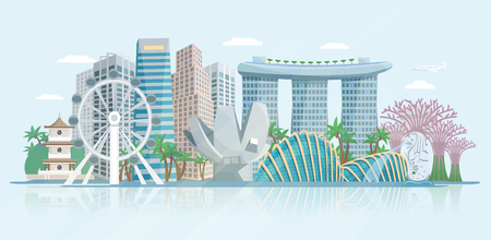 Illustration pour Singapore skyline panoramic view with modern central business district skyscrapers and historical temple building abstract vector illustration - image libre de droit