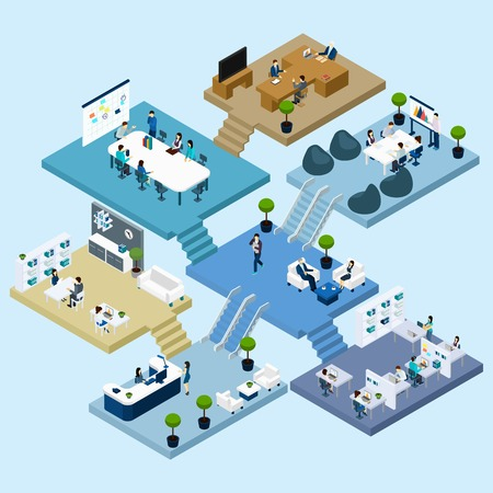 Ilustración de Isometric icons of multistoried office center with abstract scheme of floors rooms and activities vector illustration - Imagen libre de derechos