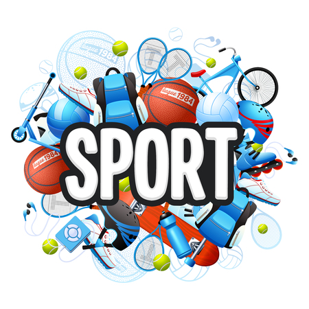 Illustration pour Summer sports cartoon concept with sports equipment and outfit vector illustration - image libre de droit