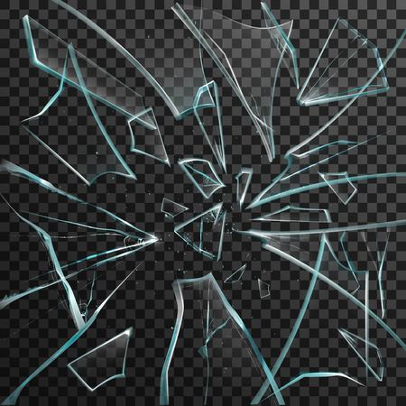 Illustration pour Realistic shards of transparent broken glass on abstract grey and black background vector illustration - image libre de droit