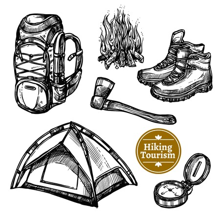 Illustration pour Black and white sketch tourism camping hiking set with backpack campfire shoes ax tent isolated vector illustration - image libre de droit