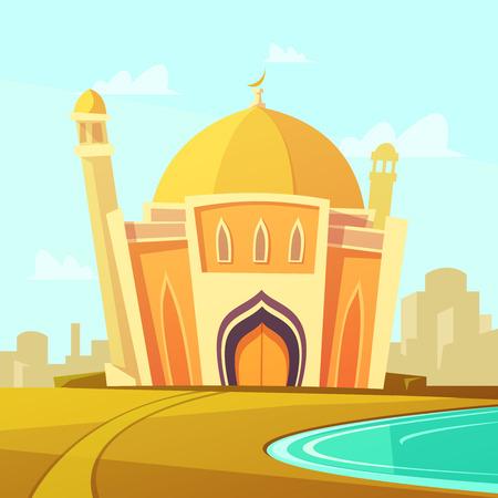 Illustration pour Mosque building with lawn by the river near the city cartoon vector illustration - image libre de droit