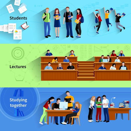 Illustration pour People at university flat horizontal banners with students studying together sitting in auditorium and happy jumping after exam vector illustration - image libre de droit