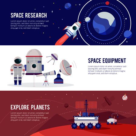 Illustration pour Space research equipment for planets and stars exploration 3 flat horizontal banners set abstract isolated vector illustration - image libre de droit