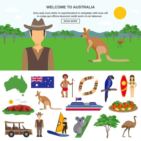 Vektor für Australia travel concept with wildlife symbols of country and sportive tourism  isolated vector illustration - Lizenzfreies Bild