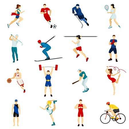 Illustration pour People sport isolated icon set with different types of physical activity in flat style vector illustration - image libre de droit