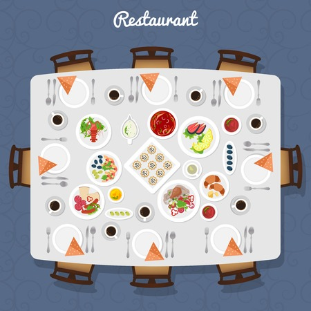 Illustration for Restaurant Table poster with different meals and free places around top view vector illustration - Royalty Free Image