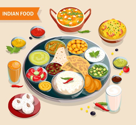 Indian food composition of dishes with seafood beans verdure and sauces also beverages and sweets vector illustrationのイラスト素材
