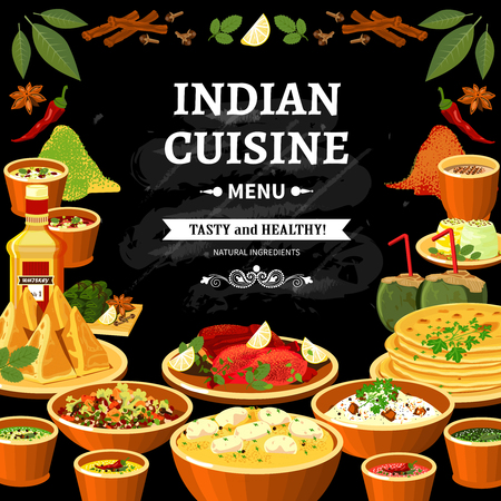 Vektor für Indian cuisine restaurant menu black board poster with colorful traditional spicy flavored dishes abstract vector illustration - Lizenzfreies Bild