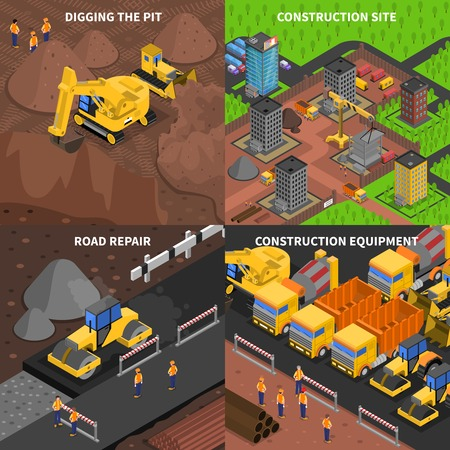 Illustration for General construction concept  isometry with scenes of digging equipment site and road repair isolated vector illustration - Royalty Free Image