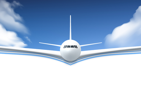 Illustration pour Realistic poster white Airplane flying in the sky with white bottom abstract background vector illustration - image libre de droit