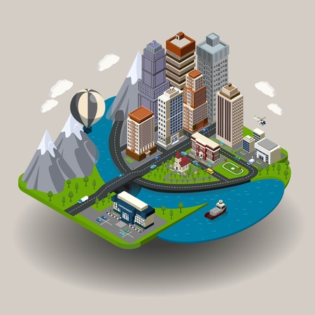 Ilustración de Isometric city icon with buildings street skyscrapers and other ordinary elements like school church clinic vector illustration - Imagen libre de derechos