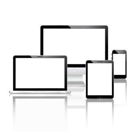 Illustration pour Mobile devices set with laptop computer monitor smartphone tablet vector illustration - image libre de droit