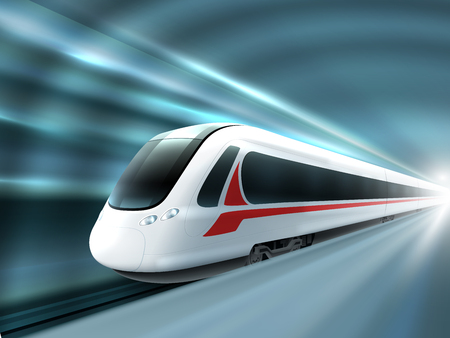 Illustration pour Super streamlined high speed train station tunnel with motion light effect background realistic poster print vector illustration - image libre de droit