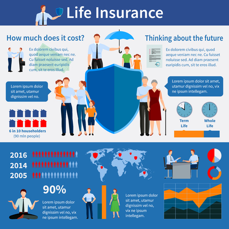 Vektor für Life insurance infographics with world map families and agents diagrams graphs statistics and growth vector illustration - Lizenzfreies Bild