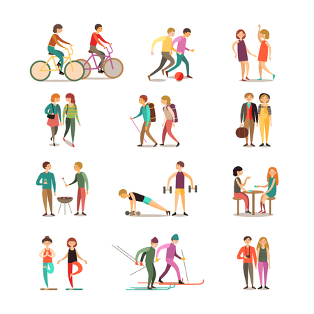 Illustration pour Friends and hobbies decorative icons set with hiking dancing soccer skiing barbecue sightseeing isolated vector illustration - image libre de droit
