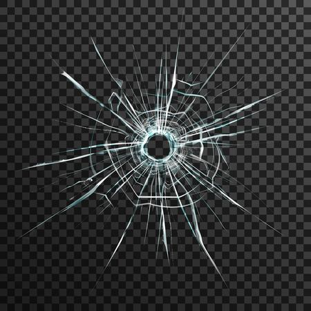 Illustration pour Bullet hole in transparent glass on abstract background with grey and black ornament vector illustration in realistic style. - image libre de droit