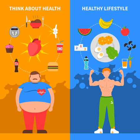 Vektor für Diet vertical flat banners with fat man young athlete healthy lifestyle icons and junk food set vector illustration - Lizenzfreies Bild