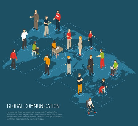 Ilustración de Isometric poster of people connected to global communication on world map dark blue background vector illustration - Imagen libre de derechos