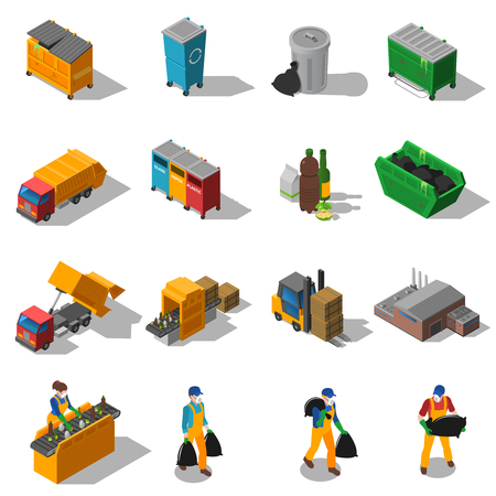 Illustration pour Garbage recycling and green waste collection services and facilities isometric icons collection abstract isolated shadow vector illustration - image libre de droit
