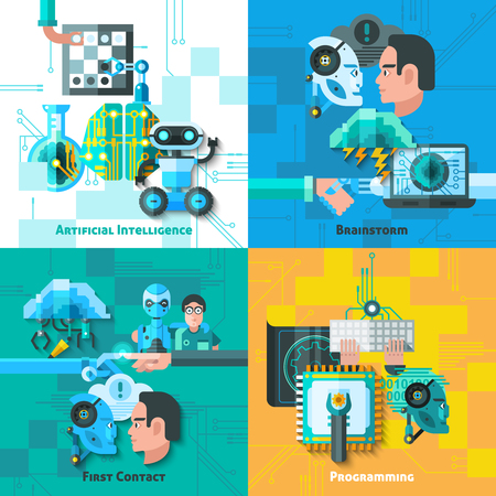 Artificial intelligence concept icons set with first contact symbols flat isolated vector illustration