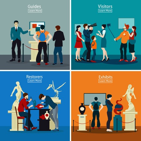 Illustration pour People in museum and gallery 2x2 design concept with exhibits restorers guides and visitors flat vector illustration - image libre de droit