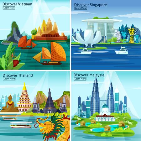 Ilustración de Asian travel 2x2 design concept with vietnam thailand singapore and malaysia colorful landscape compositions flat vector illustration - Imagen libre de derechos
