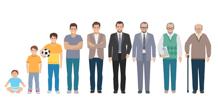 Illustrazione per Different generations full length silhouette european men isolated set vector illustration - Immagini Royalty Free