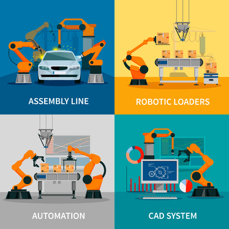 Illustration pour Automation concept icons set with assembly line and CAD system symbols flat isolated vector illustration - image libre de droit