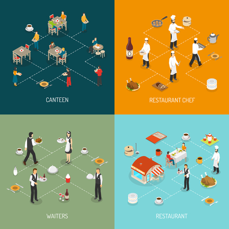 Restaurant chef and waters service and workplace canteen food 4  isomeric icons infographic elements composition abstract vector illustrationのイラスト素材