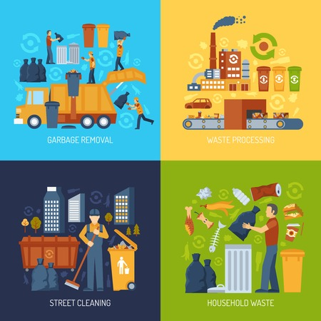 Illustration for Color flat concept showing garbage collection and waste processing vector illustration - Royalty Free Image